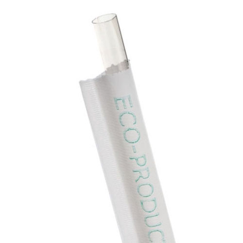"""Eco-Products PLA Clear Large Straw Wrapped - 7.75"""" - EP-ST780"""
