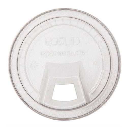 Eco-Products PLA Clear Flat Slip Lid for Cold Cup - 9, 12-24 oz - EP-FLCS