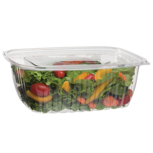 Eco-Products PLA Clear Rectangular Deli Lid Container - 64 oz - EP-RC64