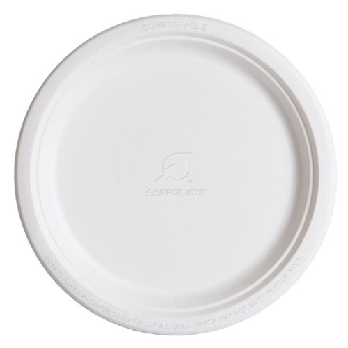 "Eco-Products Sugarcane White Round Plate - 10"" - EP-P005"