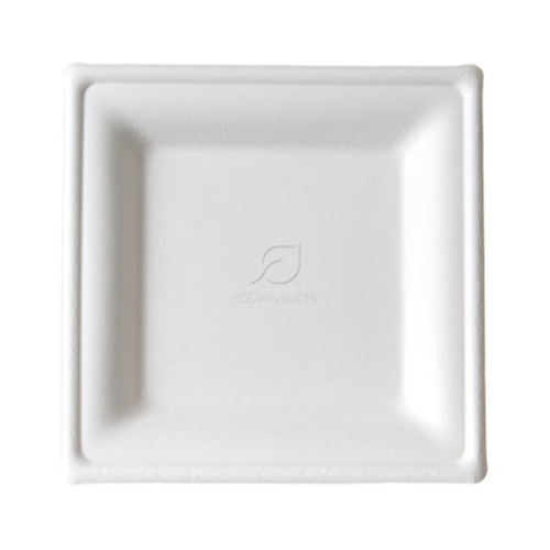 "Eco-Products Sugarcane White Square Plate - 8"" - EP-P022"