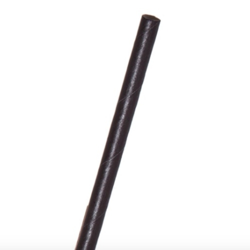 """Eco-Products Paper Black Jumbo Straw Unwrapped - 6"""" - EP-STP66U-BLK"""