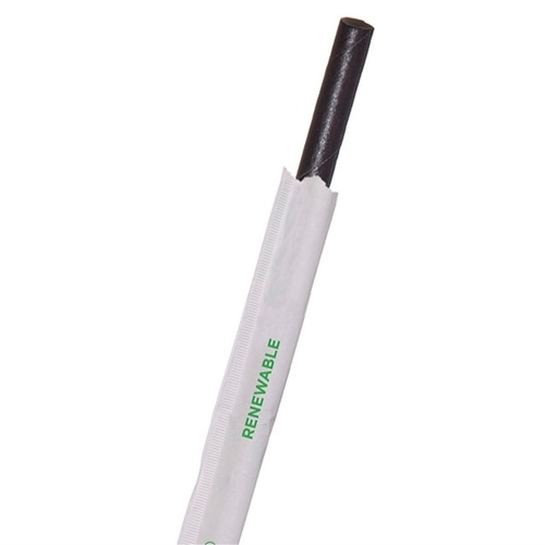 """Eco-Products Paper Black Jumbo Straw Wrapped - 7.75"""" - EP-STP76-BLK"""