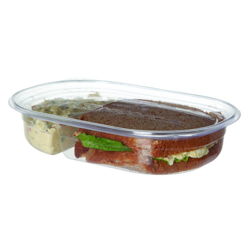 Eco-Products PLA Clear 2 Compartment Deli Lid Snack Container - 32 oz - EP-RV322