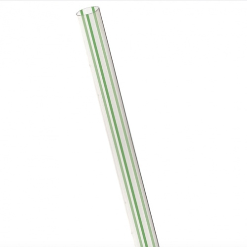 "Eco-Products PLA Clear Green Stripe Straw Unwrapped - 7.75"" - EP-ST710-GS"