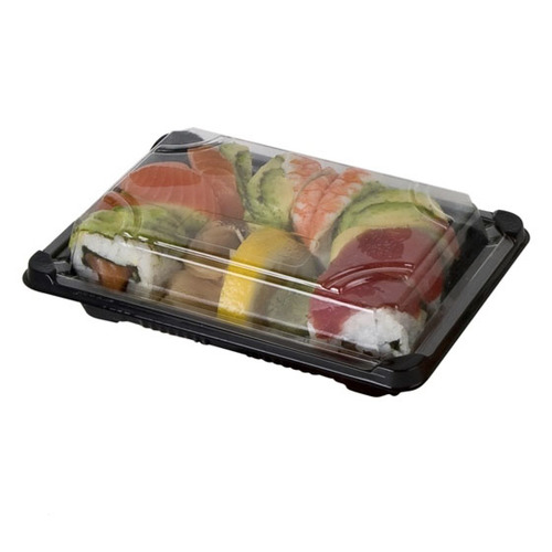 "Eco-Products PLA Black Lid Sushi Tray - 5"" x 7"" x 1.25"" - EP-SH2-CPK"