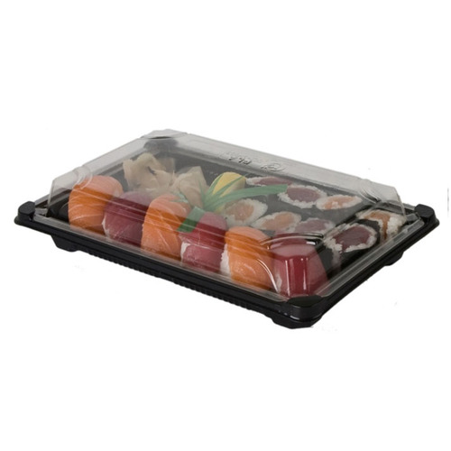 "Eco-Products PLA Black Lid Sushi Tray - 6"" x 9"" x 1.75"" - EP-SH3-CPK"