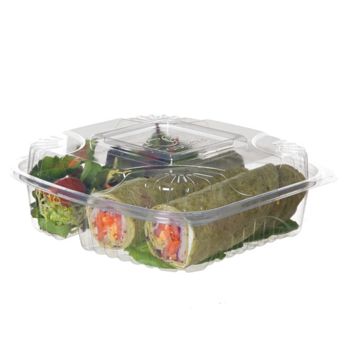 """Eco-Products PLA Clear Clamshell Hinged 3 Compartment Container - 8"""" x 8"""" x 3"""" - EP-LC83"""
