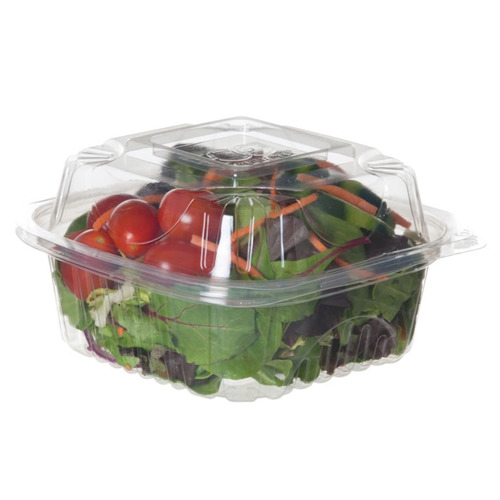 """Eco-Products PLA Clear Clamshell Hinged Container - 6"""" x 6"""" x 3"""" - EP-LC6"""