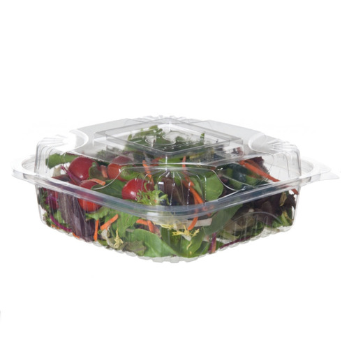 """Eco-Products PLA Clear Clamshell Hinged Container - 8"""" x 8"""" x 3"""" - EP-LC81"""