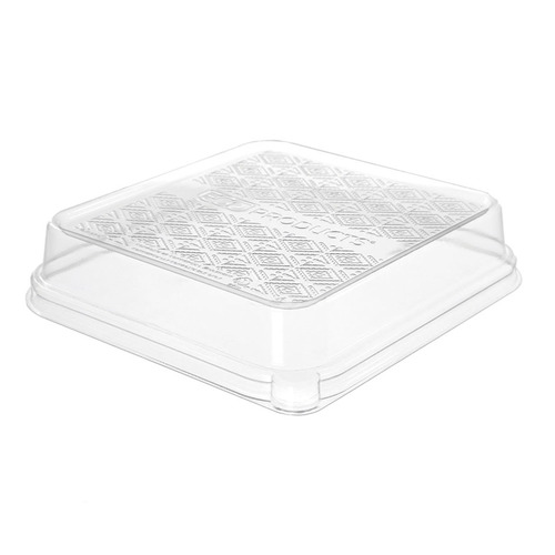 "Eco-Products PLA Clear Dome Lid for Taco Tray - 7"" x 7"" x 1.5"" - EP-SCS73LID"
