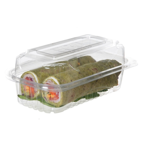 """Eco-Products PLA Clear Hoagie Clamshell Hinged Container - 9"""" x 5"""" x 3.5"""" - EP-LC96"""