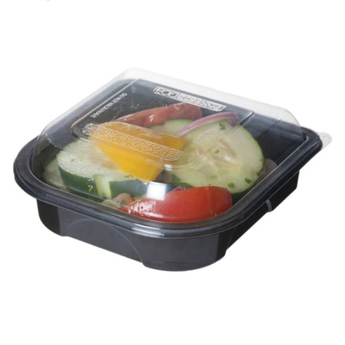 "Eco-Products rPET Black Lid Container - 12.5 oz - 6"" x 6"" x 1.5"" - EP-PTOR6"