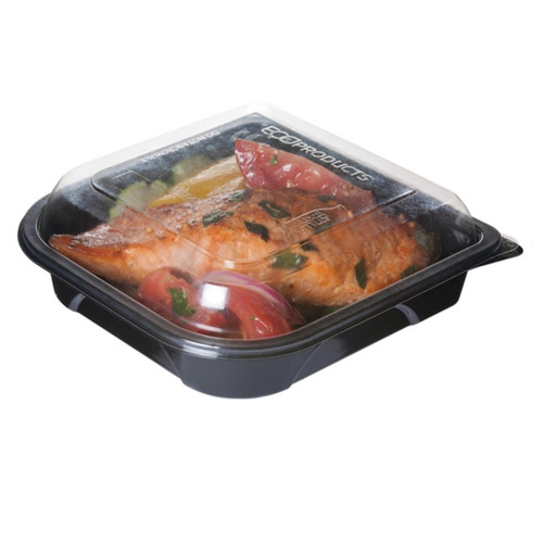 "Eco-Products rPET Black Lid Container - 18 oz - 7"" x 7"" x 1.5"" - EP-PTOR7"