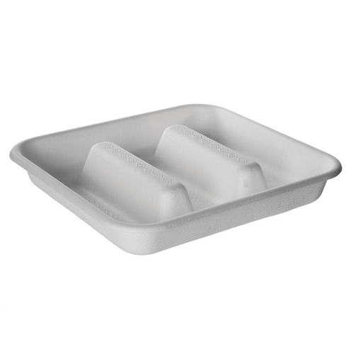 "Eco-Products Sugarcane White 3 Compartment Taco Tray - 7"" x 7"" x 1.25"" - EP-SCS73"