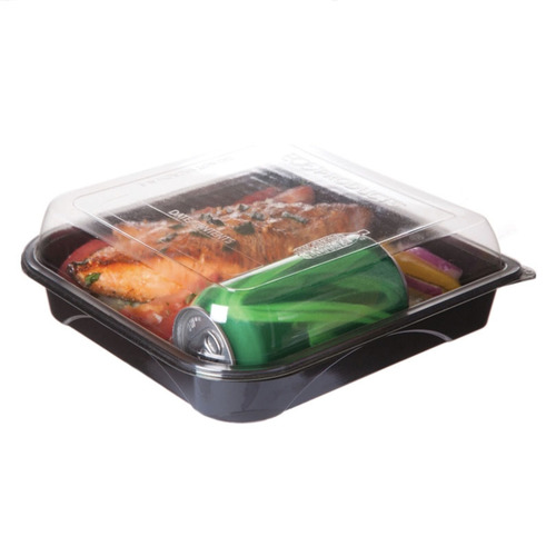 "Eco-Products rPET Black Lid Container - 42 oz - 9"" x 9"" x 1.5"" - EP-PTOR9"
