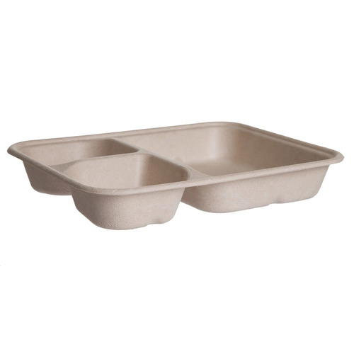 "Eco-Products Sugarcane Kraft 3 Compartment Nacho Tray - 6"" x 8"" x 1.25"" - EP-SCRC863B"