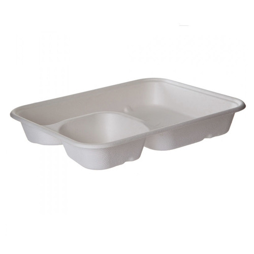 "Eco-Products Sugarcane White 2 Compartment Nacho Tray - 6"" x 8"" x 1.25"" - EP-SCRC862"
