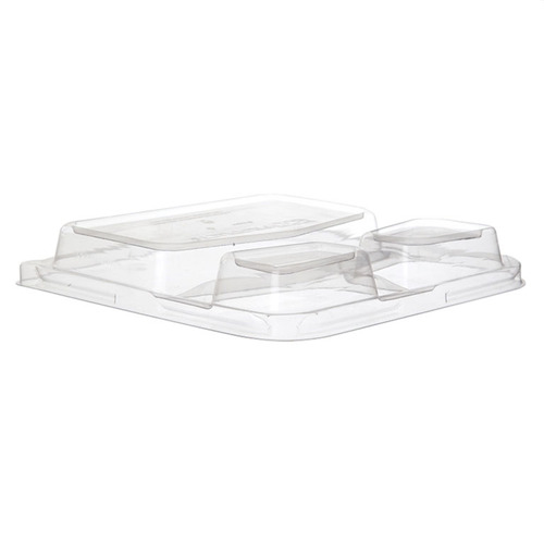 "Eco-Products PLA Clear Dome Lid for Square 3 Compartment Container - 9"" - EP-SCS93LID"