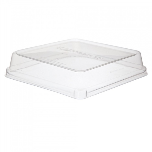 "Eco-Products PLA Clear Dome Lid for Square Container - 8"" - EP-SCS8SLID"