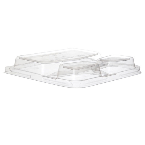 "Eco-Products rPET Clear Dome Lid for Square 3 Compartment Container - 9"" - EP-SCS93LIDR"
