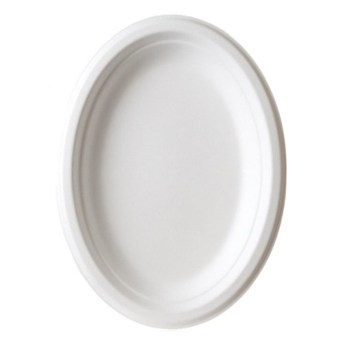 "Eco-Products Sugarcane White Oval Plate - 10"" x 7"" - EP-P009"