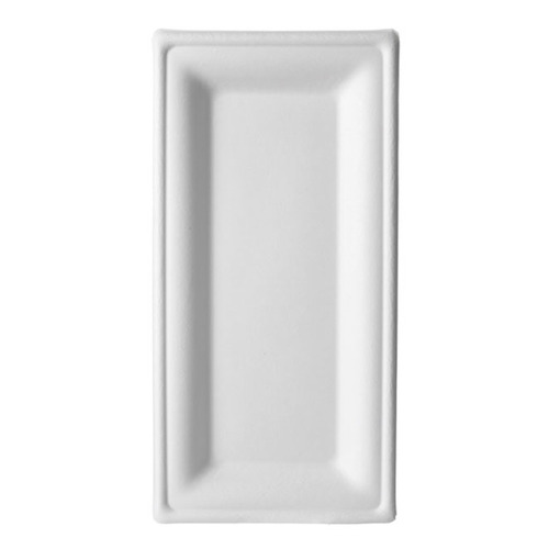 "Eco-Products Sugarcane White Rectangular Plate - 10"" x 5"" - EP-P024"