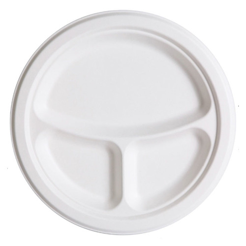 "Eco-Products Sugarcane White Round 3 Compartment Plate - 9"" - EP-P093"