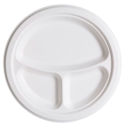 "Eco-Products Sugarcane White Round 3 Compartment Plate - 10"" - EP-P007"