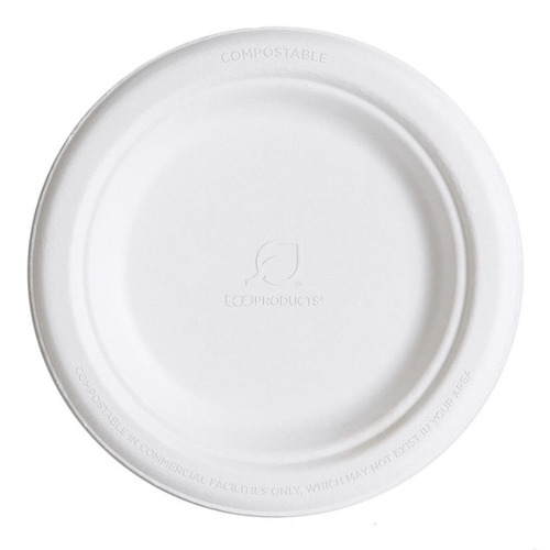 "Eco-Products Sugarcane White Round Plate - 6"" - EP-P016"