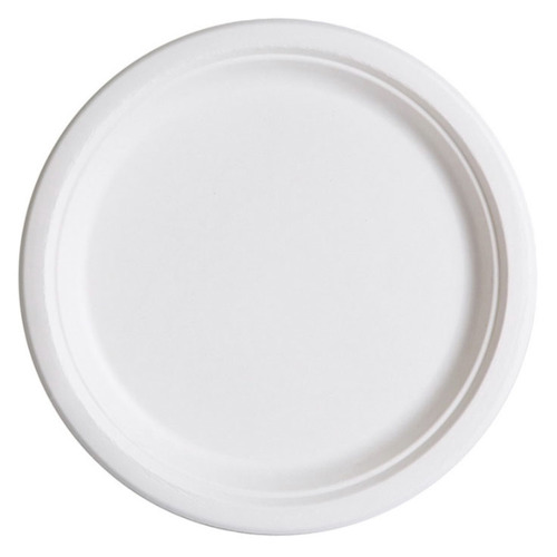 "Eco-Products Sugarcane White Round Plate - 7"" - EP-P011"