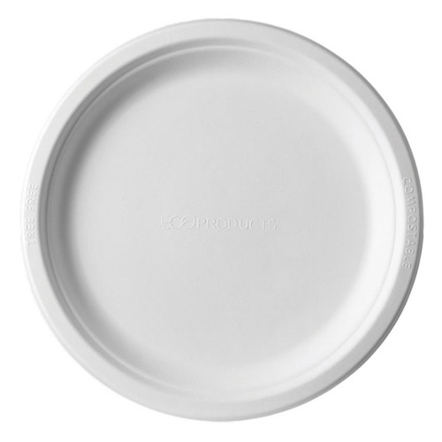 "Eco-Products Sugarcane White Round Plate - 9"" - EP-P013"