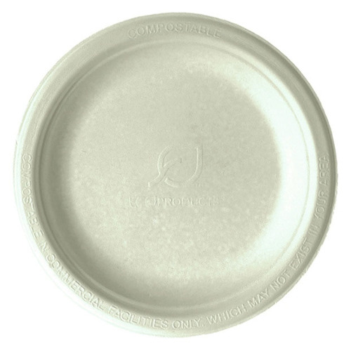 "Eco-Products Sugarcane Kraft Round Plate - 9"" - EP-NP013"