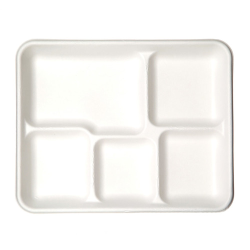 "Eco-Products Sugarcane White 5 Compartment Tray - 10"" x 8"" x 1"" - EP-PT5"
