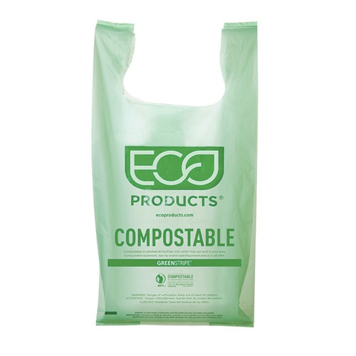 "Eco-Products PLA Green Shopper Bag - 16.1"" x 19.7"" - EP-CBMS"