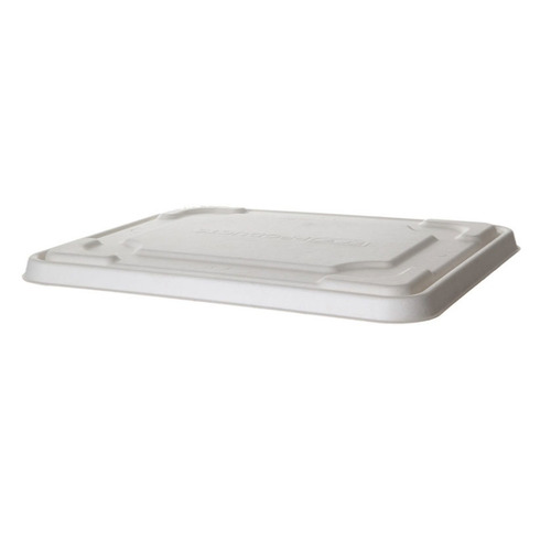 "Eco-Products Sugarcane White Flat Lid for Half Pan Tray - 13"" x 10.75"" x 0.25"" - EP-SCTR1310LID"
