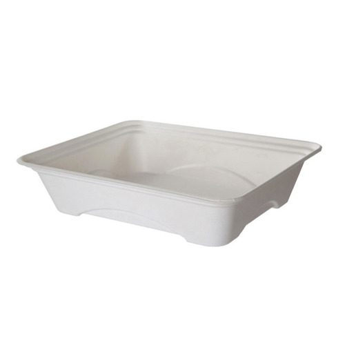"""Eco-Products Sugarcane White 1 Compartment Half Pan Tray - 130 oz - 13"""" x 10"""" x 3"""" - EP-SCTR13101"""