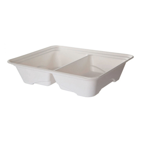 """Eco-Products Sugarcane White 2 Compartment Half Pan Tray - 45 oz - 13"""" x 10"""" x 3"""" - EP-SCTR13102"""