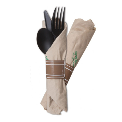 "Eco-Products Napkin Roll PLA Black 3 Piece - Fork, Knife, Spoon - 7"" - ESVBKEROLL3"