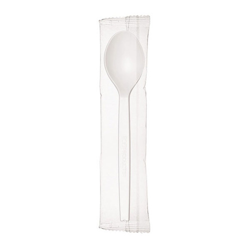 "Eco-Products PSM White Spoon Wrapped - 7"" - EP-S073"