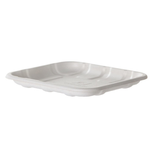 "Eco-Products Sugarcane White Tray - 8.5"" x 6"" x 0.5"" - EP-MP2S"