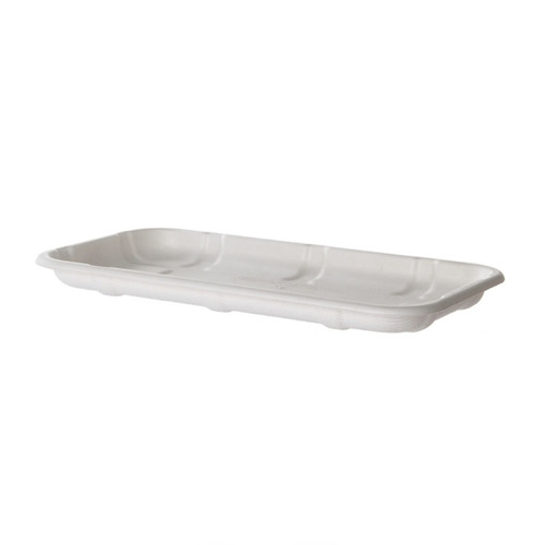"Eco-Products Sugarcane White Tray - 8.5"" x 4.75"" x 0.5"" - EP-MP17S"