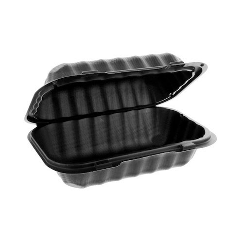 "EarthChoice MFPP Black Clamshell Hinged Microwavable Container - 9"" x 6"" x 3"" - YCNB809610000"