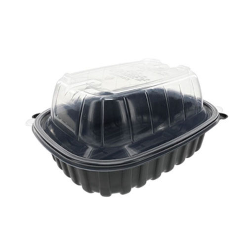 "EarthChoice MFPP Black Lid Microwavable Roaster Container - 9.5"" x 7.5"" x 4.25"" - YCNC6011DPPZ"