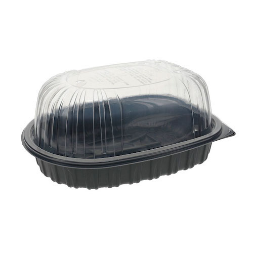 "EarthChoice MFPP Black Lid Microwavable Roaster Container - 32 oz - 10"" x 7.5"" x 4"" - YCNC6007DPPZ"
