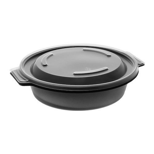 "EarthChoice MFPP Black Round Lid Microwavable Container - 16 oz - 7"" - 0CN8071600BL"