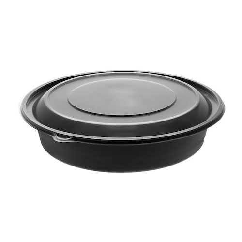 "EarthChoice MFPP Black Round Lid Microwavable Container - 48 oz - 9"" - 0CN80948CSTC"