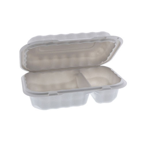 "EarthChoice MFPP White Clamshell Hinged Microwavable 2 Compartment Container - 9"" x 6"" x 3"" - YCN809620000"
