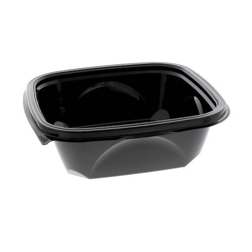 "EarthChoice rPET Black Square Bowl - 32 oz - 7"" - SAB0732"