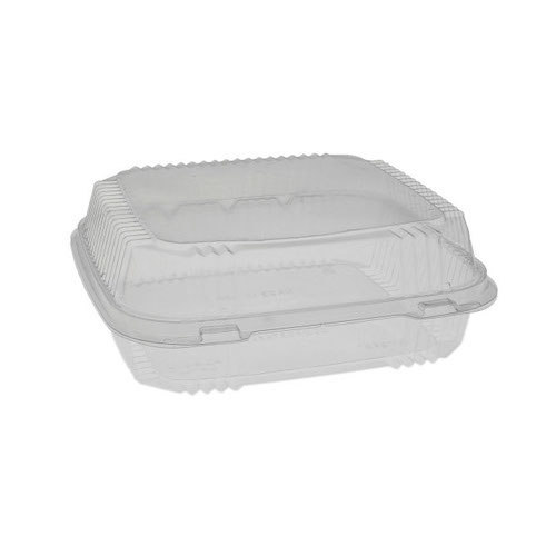 "EarthChoice PLA Clear Clamshell Hinged Container - 8"" x 8"" x 3"" - YLI811200000"